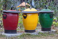 Dust-bins in three colours for various Garbage Royalty Free Stock Photo