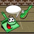Dust brush and dustpan with speech bubble