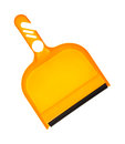 Dust pan angle a small orange utility table or counter with black rubber lip for easy cleaning Royalty Free Stock Photo