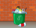 A dustbin illustration of in front of wall Royalty Free Stock Image