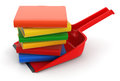 Dustpan and books clipping path included image with Royalty Free Stock Images