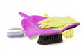 Dustpan brush and gloves Royalty Free Stock Photo