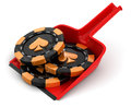 Dustpan and casino chips clipping path included image with Royalty Free Stock Photography