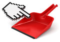 Dustpan and cursor clipping path included image with Royalty Free Stock Image