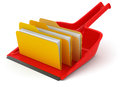 Dustpan with folders clipping path included image Stock Image