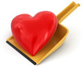 Dustpan and heart clipping path included image with Royalty Free Stock Photography