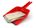 Dustpan and letters clipping path included image with Stock Image