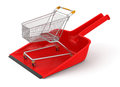 Dustpan and shopping cart clipping path included image with Stock Photo