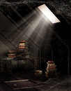 Dusty attic with books old and cobwebs Royalty Free Stock Images