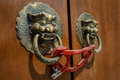 Dusty door knockers a pair of with a chain lock Royalty Free Stock Photo