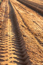 Dusty gravel road with imprint Stock Photo
