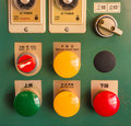 Dusty Industrial Red Green Yellow Button Controller Royalty Free Stock Photo