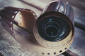 Dusty old photographic roll and film Royalty Free Stock Photo