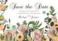 Dusty pink, creamy antique rose, pale flowers vector design wedding ravp frame. Flowers, eustoma, brunia, fern, eucalyptus,