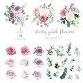 Dusty pink and mauve antique rose, lavender and pale flowers, eucalyptus Royalty Free Stock Photo