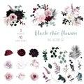 Dusty pink, pastel, black flowers big vector design set.