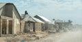 Dusty road leading to Zanzibar town Royalty Free Stock Photo