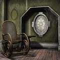 Dusty room with a rocking chair old wooden Stock Image