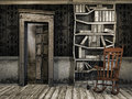 Dusty wooden room with books and a rocking chair Royalty Free Stock Photo