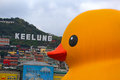 Dutch artist florentijn hofman's rubber duck in keelung installation taiwan from dec Royalty Free Stock Photo