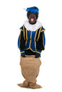 Dutch black pete jumping in jute bag Stock Image