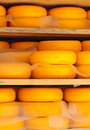 Dutch cheese on wooden shelfs Royalty Free Stock Photos