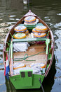 Dutch cheeses in boat alkmaar holland during the cheese market the town of are transported by through the water of the canal Royalty Free Stock Photo