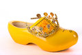 Dutch clog with a crown wooden shoe to symbolise the crowning of the king Stock Image