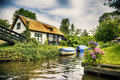 Dutch county side typical of houses and gardens Stock Image