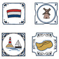 Dutch culture set of doodle style traditional tiles Royalty Free Stock Photography