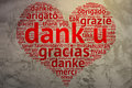 Dutch dank u heart shaped word cloud thanks grunge background focus on in shape on saying in multiple languages Royalty Free Stock Photos