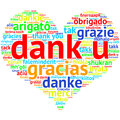 Dutch dank u heart shaped word cloud thanks on white focus in shape background saying in multiple languages Stock Images
