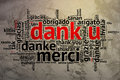 Dutch dank u open word cloud thanks grunge background focus on in form on saying in multiple languages Stock Image