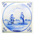 Dutch delftware blue tile Royalty Free Stock Photo