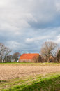 Dutch farm in a colorful autumnal landscape Stock Photography