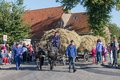 Dutch farmers with a traditional hay wagon in a co nieuwehorne the netherlands sep countryside parade during the agricultural Royalty Free Stock Photos