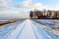 Dutch farmhouse in snowy winter Royalty Free Stock Photo