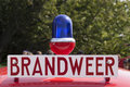 Dutch firebrigade car amsterdam netherlands august blue lano and sign with brandweer on Royalty Free Stock Photo