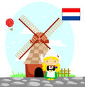 Dutch flag and culture girl a high windwill Royalty Free Stock Photo