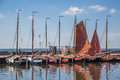 Dutch harbor of urk with traditional wooden fishing boats several Royalty Free Stock Image