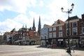 Dutch historic facades on the Market Square, Delft Royalty Free Stock Photo