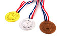 Dutch medals in gold silver and bronze over white background Stock Photos