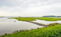 Dutch nature reserve with a long footbridge over the water Royalty Free Stock Photo