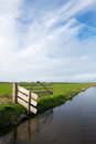 Dutch polder arkemheen landscape with fench and ditch in Royalty Free Stock Photography