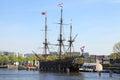 The dutch sailing cargo ship of century amsterdam netherlan netherlands may near maritime museum netherlands Royalty Free Stock Photography