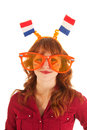 Dutch soccer fan young red haired woman as Stock Images