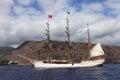 Dutch tall ship Bark Europa at St Helena Island Royalty Free Stock Photo