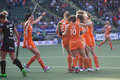 Dutch team celebrating a goal the hague netherlands june players van as lammers jonker and hoog during the hockey world cup in the Stock Photography