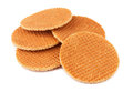 Dutch waffles on a white background Stock Images