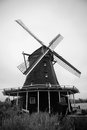 Dutch Windmill in Black and White Royalty Free Stock Photo